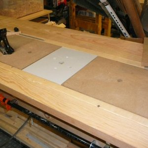 A router insert ... this it really just a demonstration, as I also have a dedicated router table. This pic also shows a planing stop attached to the t