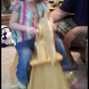 Motion blur! Granddaughter and her daddy.