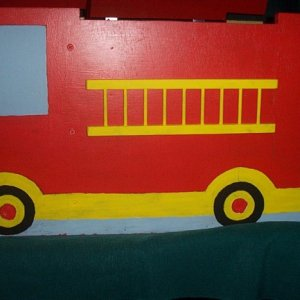 Fire Engine Toy box side