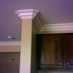 crown molding in temecula on a bullnose corner...
