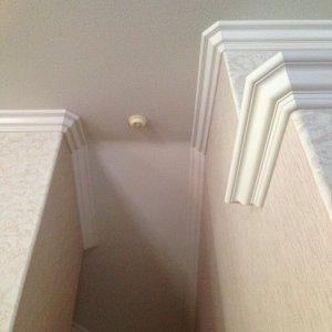 Vaulted crown molding in murrieta, ca on multiple levels.