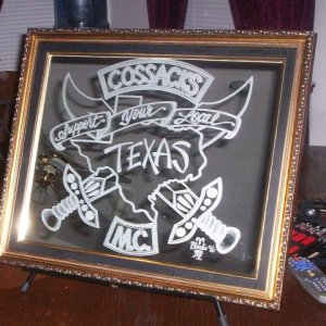 24X36 Mirror-CMC (support your local) ,crossed swords with TX.  I donated this for auction at a Cossack Toy Run in 2007.  The final auction bid was $4