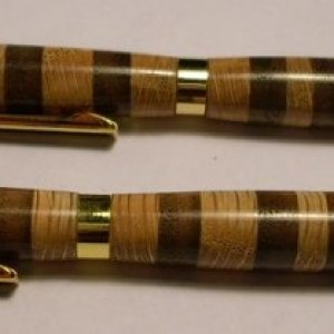 walnut and oak rings pen and pencil set