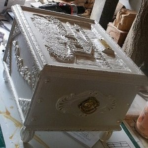 A Wedding Keepsake Box I made for my son and his wife, the lid is a detailed carving of the gazebo and surrounding area where they were married