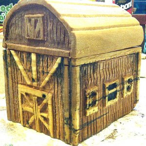 a small wood barn mens watch box carved from pine