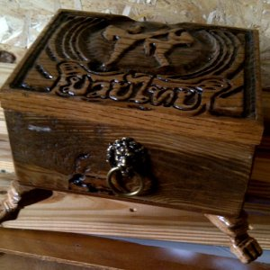 A Kick boxing Valet Box I made for my nephew, the  antique Lion head I found in a antique store