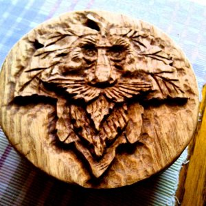"My first attempt at a ""Wood Spirit"" circle box. Craft Show people LOVE Wood Spirits. Basically you carve some old dude's fave on a piece of"