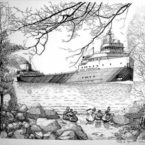 lastly my rendering of the Edmund Fitzgerald called the Edmund passing. The limited edition sold out in just under a year.