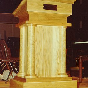 White Oak Lectern built for Caddo Magnet High School in Shreveport.  They gave us a budget, a theme, and a deadline - we met all three.  The columns a