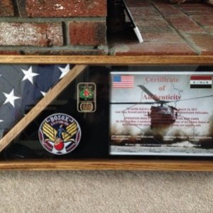 Flag case with Company patch, Battalion coin and certificate of authenticity.