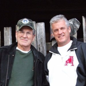 John and I at barn gate  - My oldest son (John - 51) and I at the gate to my  shop. John is a Pastor to Youth at Colonial Hill's Church in Southaven,