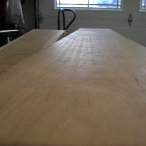 Planer stripes on cherry board. 2