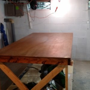 My 8'X4' Work table. It looks different now, I will have updated pictures soon.