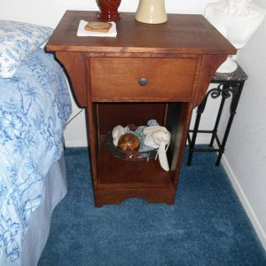 Mission style bedside table. Built out of white oak. Finished with asphaltum stain and satin water based lacquer.