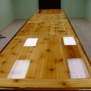 Finished -18' x 4' cedar conference table