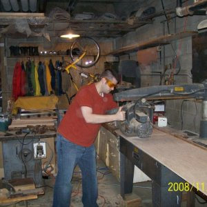 At the radial arm saw.