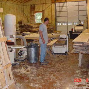"Back room, Shop Fox 20"" planer in use, Woodmaster 725 in background."