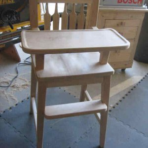Grandson's Highchair, this was made from a pattern from Rockler, with quite a few modifications.  Not counting the tray mounting hardware, there are 6