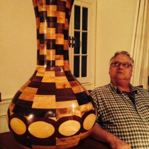 free form vase, 35 inches tall. Woods used: Black walnut, Yellow birch, Maple