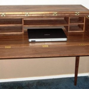 Here is the open view of the walnut laptop desk. The hinges were SOSS hinges. The finish was poly/tung oil mix.