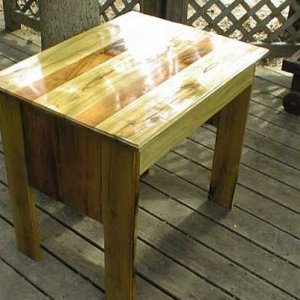 I built this simple table from some Black Locust and Cherry from some trees that fell in our yard in Yellow Springs.