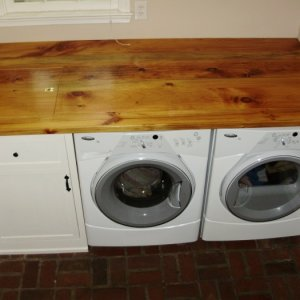 Laundry area top.  I built in a dump sink underneath on the left