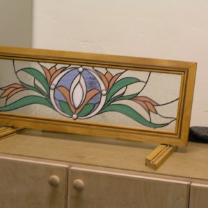 Stained Glass Frame with inlaid walnut