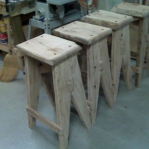 "30"" Stools for the wine table made out of reclaimed wormy chestnut"