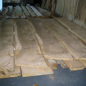 "IMG 4410  Air drying our beautiful quarter sawn 8/4 x 20""+ x 9' slabs in air dry storage.  We're building a kiln next."