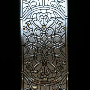 close up of beveled glass on French doors