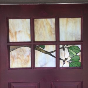 Stained glass in door - outside view
