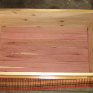 Full view of aromatic red cedar lining the bottom