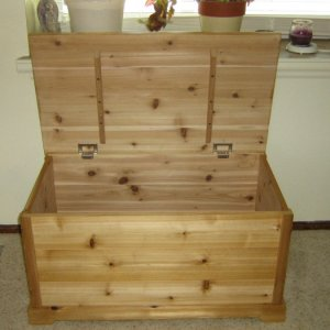 Chest with lid attached
