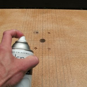 After completing guidelines and drilling mounting holes, coat with clear lacquer or varnish(both sides and edges)  to preserve table guidelines and re
