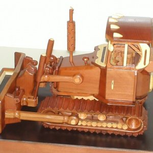 Bulldozer made of Dark/Light Redwood,some Bamboo Fully detailed Interior. Over 300 pieces