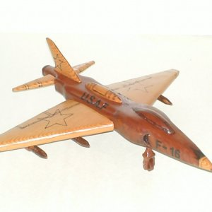 F-16 Fighter made of Dark/Light Redwood