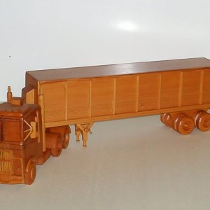 Tractor Trailor made entirely out of Light Redwood