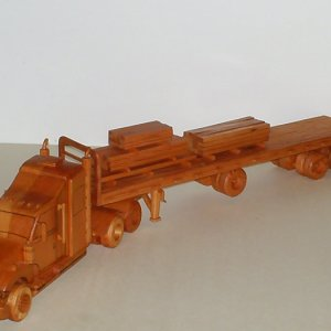Flatbed/Tractor Trailor made entirely out of Light Redwood