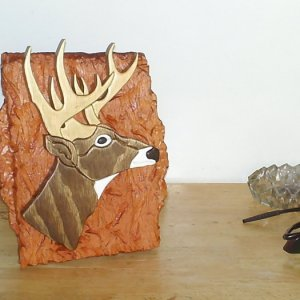 Intarsia Deer Head made of stained and painted pine