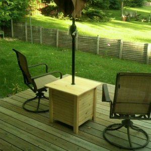 Small deck table built out of pine.  The weighted umbrella base is hidden in the table itself.