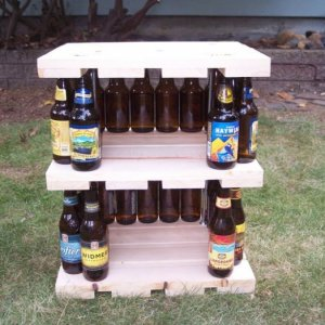 Beer bottle night stand, still under construction, it's pretty damn sturdy too!