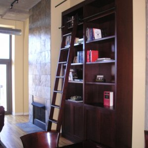 Custom Bookcase with Roling Ladder