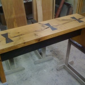 Custom Bench Slab Oak with Wenge Accents