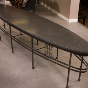 14' Oval Table w/recycled glass terrazzo