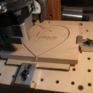After the name is engraved, change cutters and cut out the heart