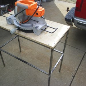 My H.F. miter saw, and the stand I made for it.