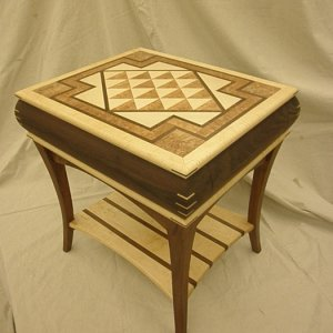 Walnut and Maple End Table with Inlaid parquet top