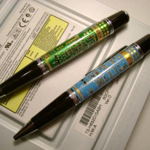 Pair of Woodcraft Circuit Board pens (my first and second, both blew out and I was able to salvage, not for sale, but gave them away to friends)
