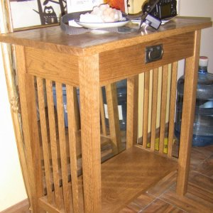 Here's a mission hall table I made for the in-laws.  This is the first project I made with a drawer.  It works!