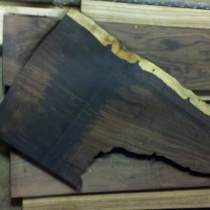 Scrap piece of cocobolo. The black part is from machining that tells you how hard it is